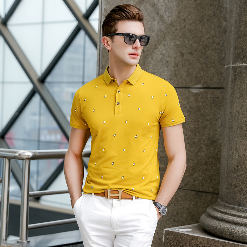 2019 New Fashion Brands Summer   Polo   Shirt Mens Cotton Yellow Short Sleeve Slim Fit British Style Poloshirt Casual Men Clothing
