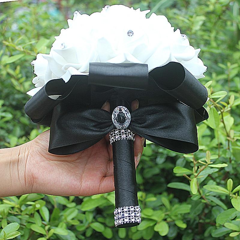 IN STOCK Cheapest PE Rose Bridesmaid Wedding Foam flowers Rose Bridal bouquet Ribbon Fake Wedding bouquet de noiva 14 Color 2