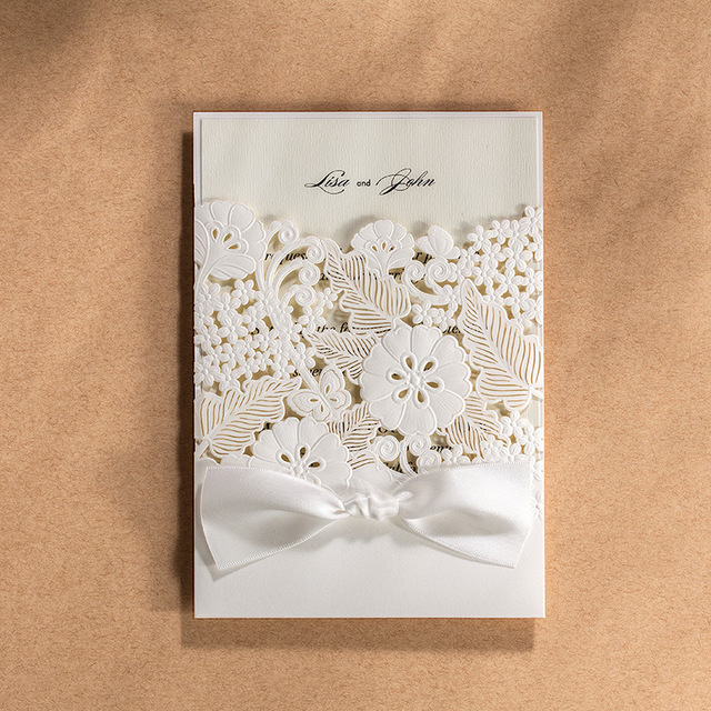 Laser Cut Wedding Invitations Cards Engagement Flowers Birthday Invites Paper Cardstock With Bowknot Party Favors Cw5179