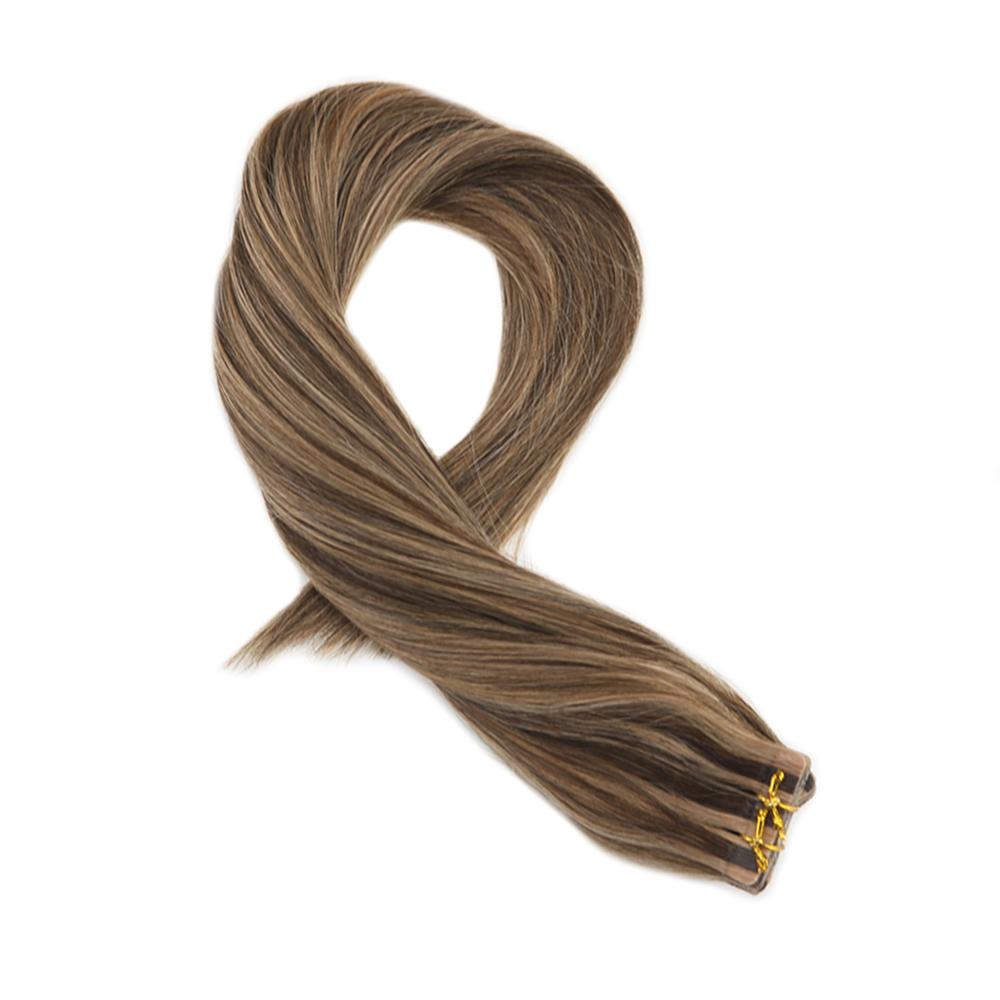 Moresoo 16-24 Inch Tape In Hair Extensions Human Hair Highlight Color #P4/27 Skin Weft Straight Remy Brazilian Hair 2.5g/pcs