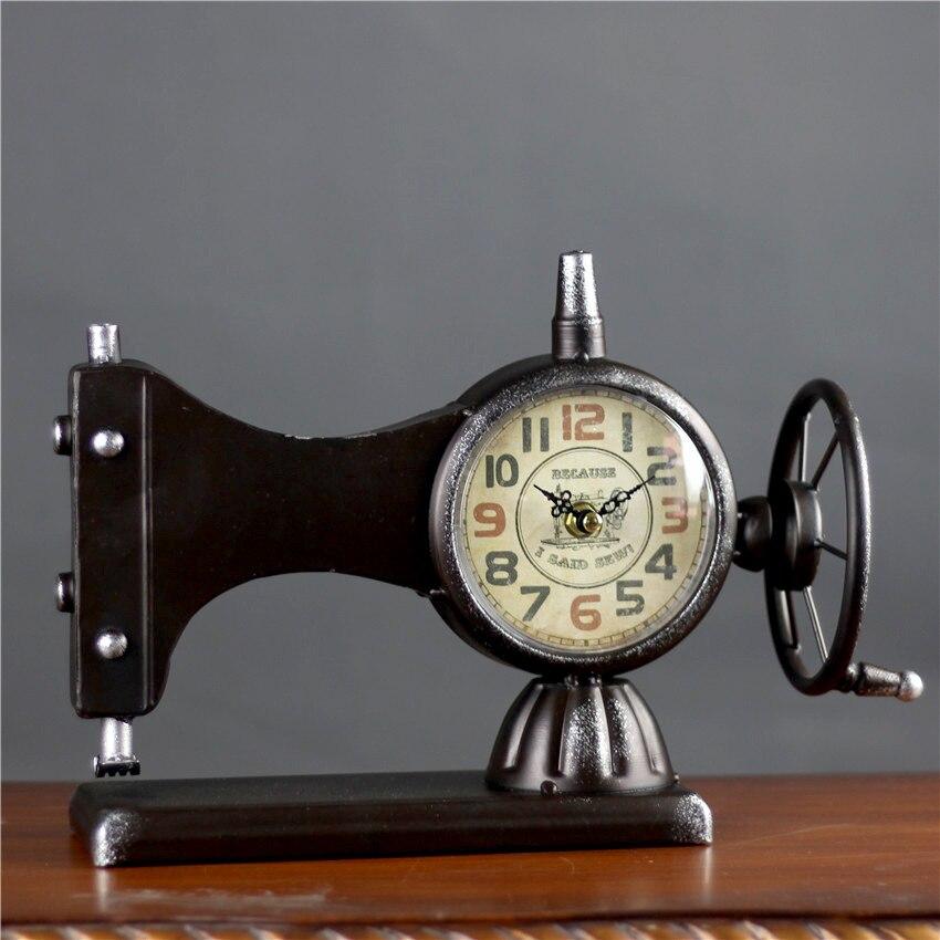 Retro Máquina De Costura Relógio Despertador Criativo Ferro Retro Relógios de Quartzo Em Silêncio Relógio Da Estação de Alarme Relógio de Mesa Decoração de Casa