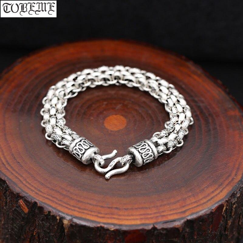 Handmade 925 Silver Chain Bracelet Vintage Sterling Silver Man Bracelet Punk Jewelry Lucky Bracelet Real Silver