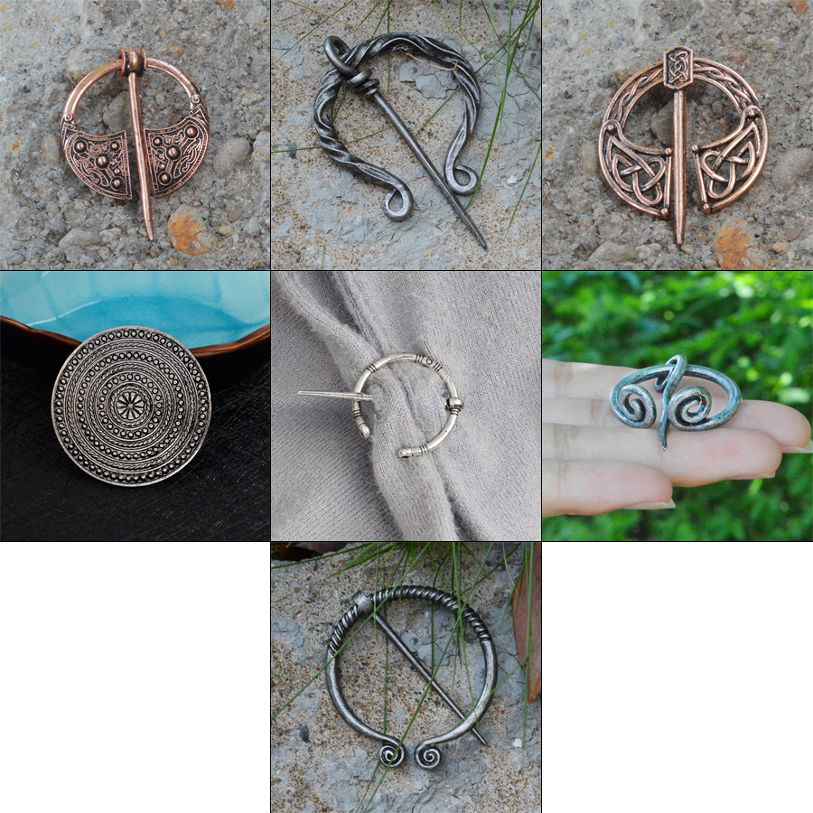 Viking Brooch Collection Vintage Penannular Shoulder Shawl Scarf Clasp Cloak Pin Medieval Jewelry Norse Viking Metal Pin Badge(China)