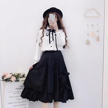 Black lolita skirt bowknot elastic waist kawaii girl victorian skirt gothic lolita tea party sweet lolita sk loli cosplay