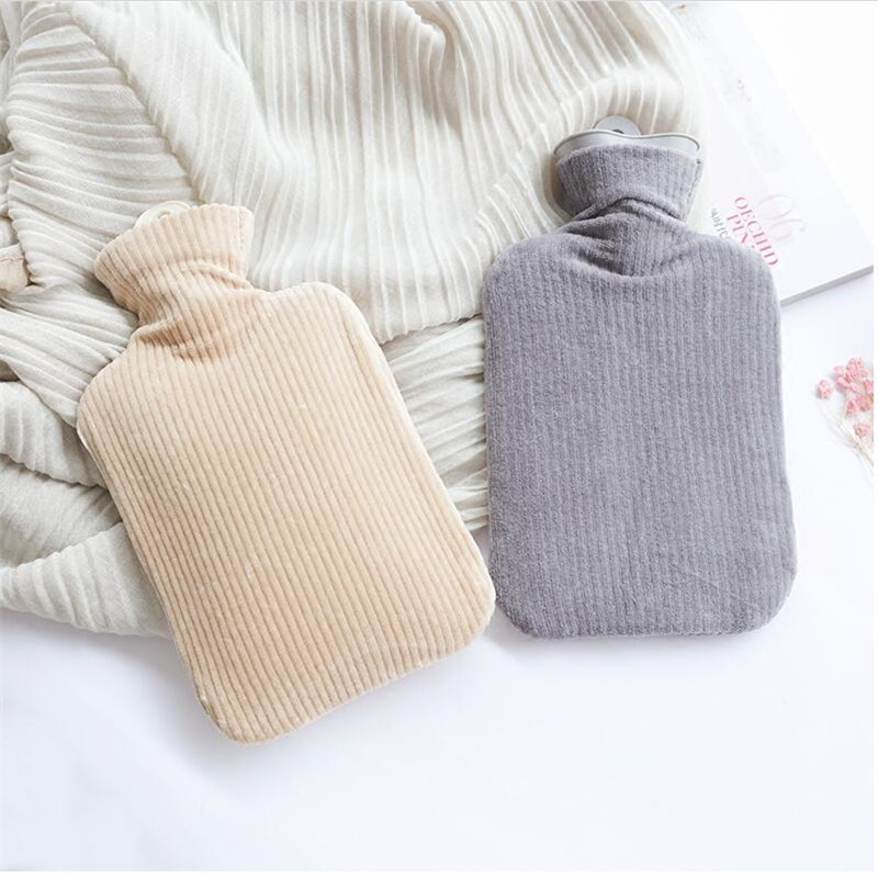 Water-Filling Hot Water Bag Brief Solid Color Plush Pocket Hand Wamer PVC Hot Water Bottle 26*15CM JJ209 water