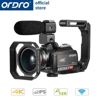 Ordro HDV AC5 4K Camcorder 12X Optical Zoom 3.1 IPS Touch Screen Ultra HD 1080P 60FPS Digital WiFi Camera