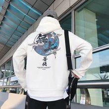 M Japanese crane print fleece hoodie 2019 autumn and winter Chinese style hip hop casual sweatshirt street wear