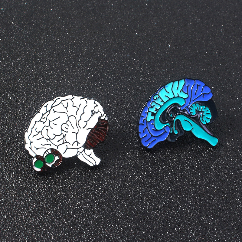 Medical Brain Enamel Pins Brooches Stethoscope Badge For Nurse Doctor Graduating Student Lapel Denim Shirt bags Hat Gifts in Brooches from Jewelry Accessories