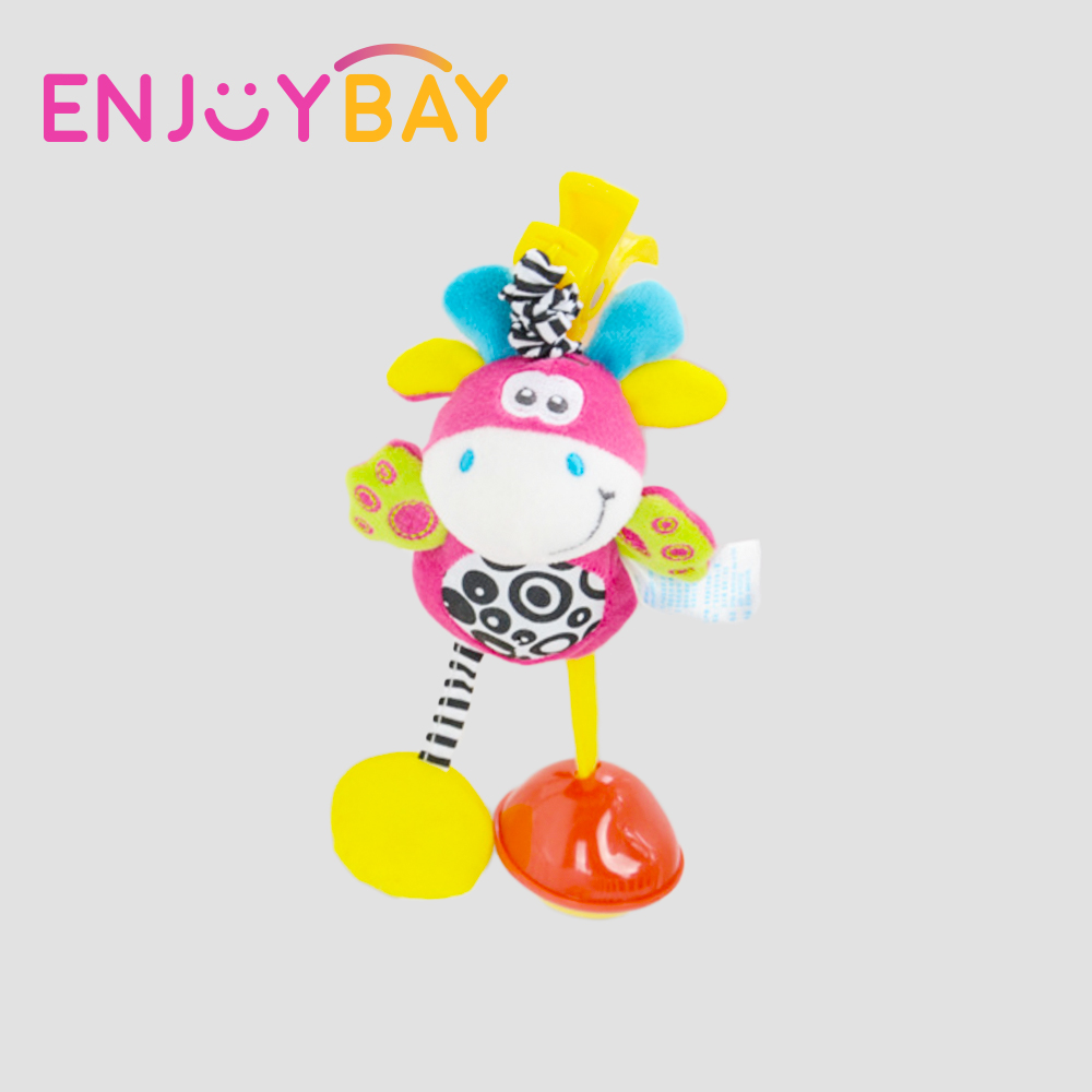 Enjoybay Cute Rattles Toys Cartoon Shock Doll Toy Baby Stroller Hanging Rattle Bells Soft Cotton Animal Plush Toy for Infant