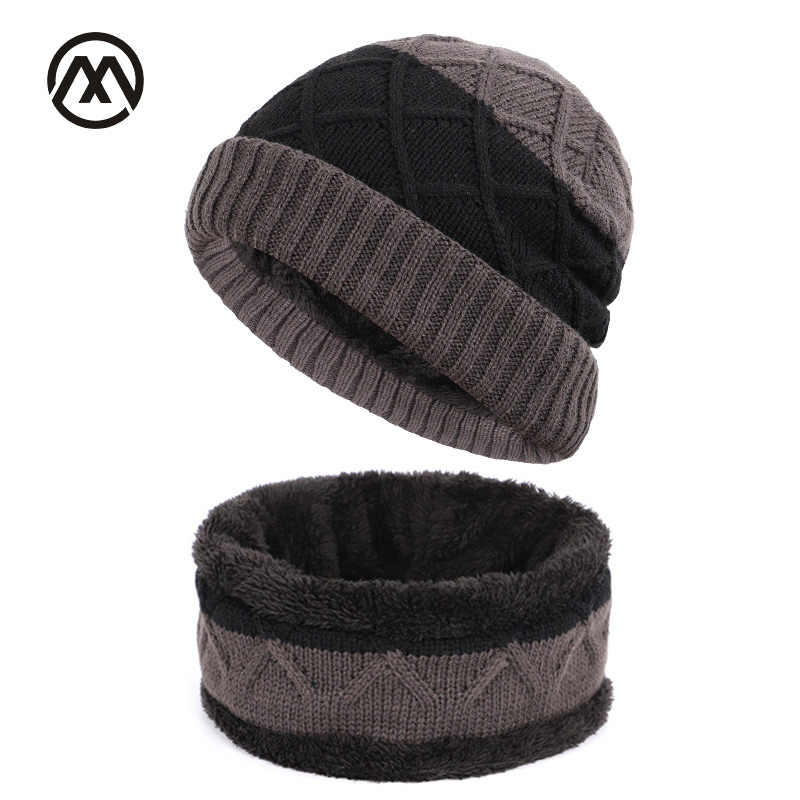 c279e7830ec Winter new knit hats men s outdoor warm loose plaid hat stitching fashion  trend unisex thickening plus