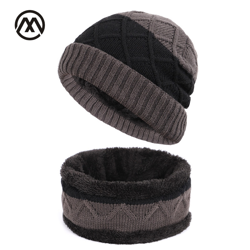 Winter New Knit Hats Men's Outdoor Warm Loose Plaid Hat Stitching Fashion Trend Unisex Thickening Plus Velvet Velvet Fabric Caps