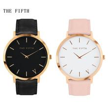 Women Men Watch Top Fashion Brand Female Clock Gold Case Leather Strap Quartz-watch 2017 Wristwatch Business Hot Sale