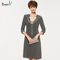 Dressv Grey Knee Length Sweetheart Neck Mother Of Bride Dress With 3 4 Sleeves Jacket Appliques