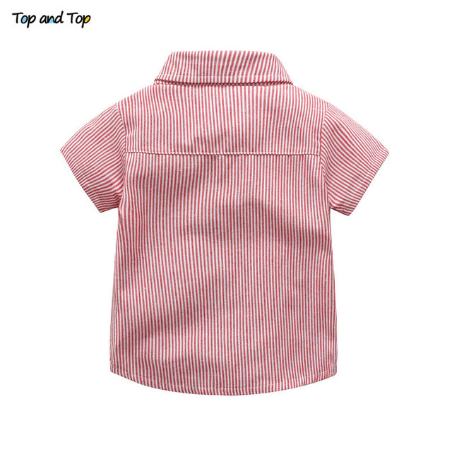 Baby Boy Gentleman Clothes Set Summer Suit For Toddler Striped Shirt with Bow Tie+Suspenders White Shorts Formal Boys Clothes