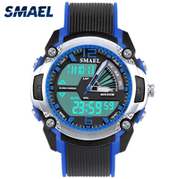 SMAEL Kids Watches Creative Fashion Child Dual Display Watch Outdoor Waterproof Swimming Cool Gift For Boys