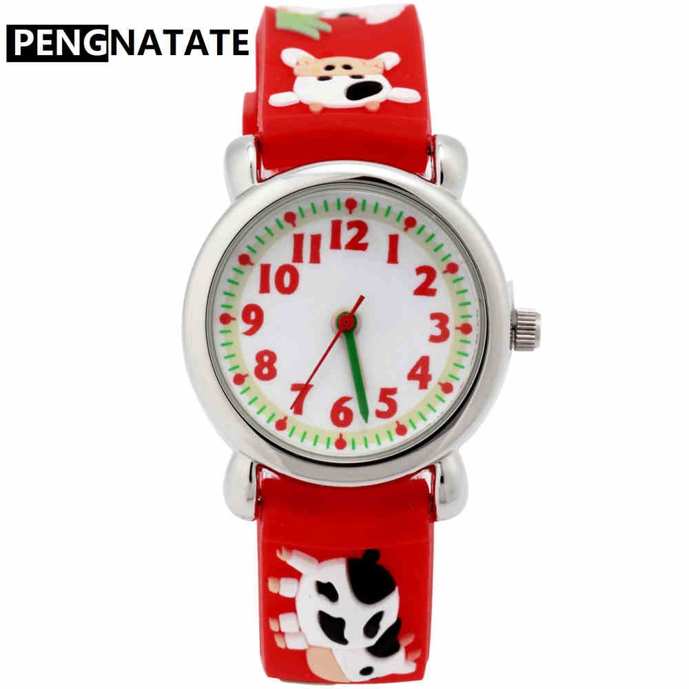 PENGNATATE Children Silicone Watch Red Strap Kids Watch for Boy Girls Gift Hand Clock Fashion 3D Cartoon Cow Bracelet Wristwatch