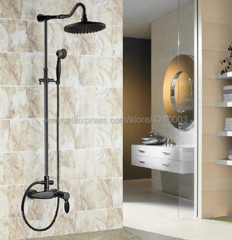 Black Oil Rubbed Brass Rain Shower Set Faucet 8 Rainfall Shower Head with Hand Shower Spray Mixer Tap Wall Mounted Krs725