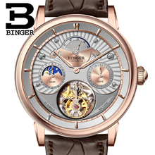 Switzerland BINGER Men Watch Luxury Seagull Automatic Movemt Watches Male Tourbillon Sapphire Alligator Hide Mechanical 80802-2