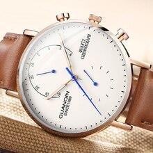 レロジオ masculino GUANQIN ブランドの高級メンズファッションクリエイティブクロノグラフ発光アナログレトロレザーストラップクォーツ腕時計