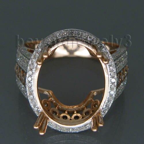 Последнее кольцо конструкций Овальный 12x15 мм 14Kt розовое золото природных корейский кольцо Маунт Semi SR061