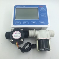 YF S201 G1/2 Water Flow Controller system set LCD Display + Solenoid Valve Gauge + Flow Sensor Meter Counter Indicator reader