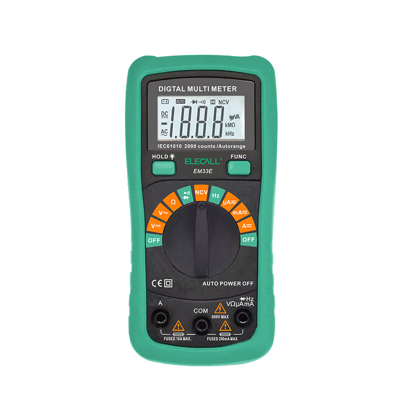EM33E Digital Multimeter Auto Range Protection AC DC Ammeter Voltmeter Ohm Frequency Electrical Tester Diode Detector