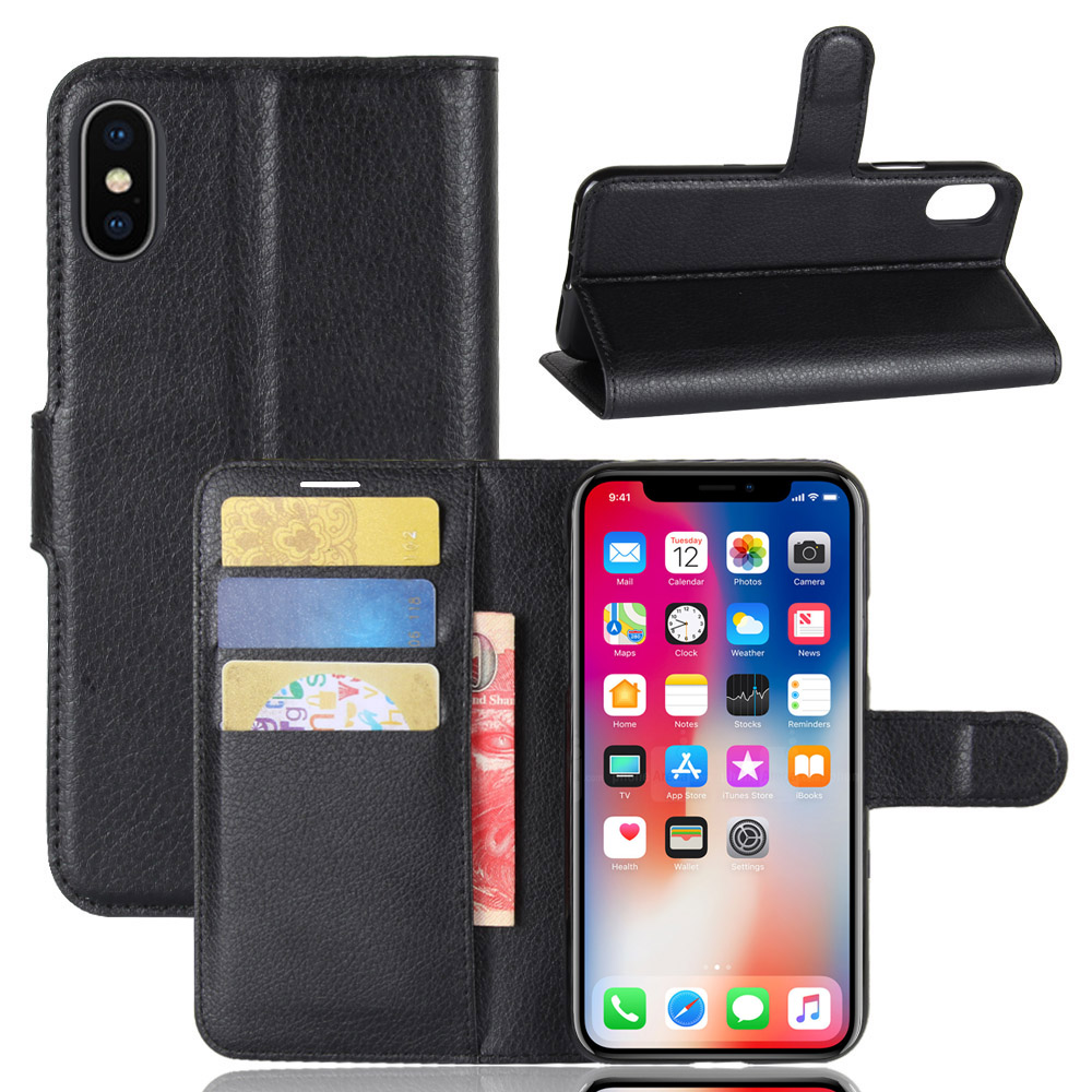 KONSMART Leather Book Style Case For iphone 7 8 Plus Wallet Flip PU Cover For iphone X Coque Fundas Phone Cases Black Housing