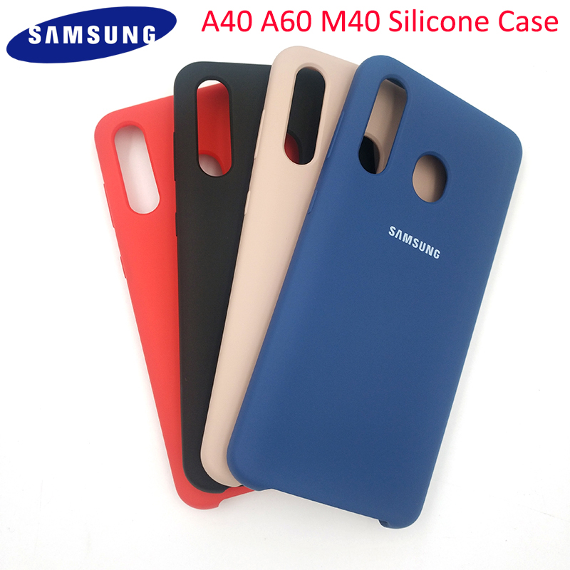 100% Original Samsung A40 Liquid Silicone Case Protective Back Door Housing Cover For Galaxy A40 A60 M40 Mobile Phone With Logo