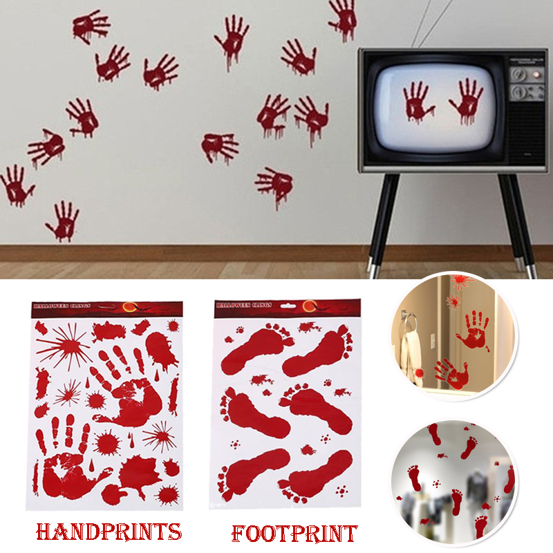 Bloody Feet Hands Wall Sticker Halloween Party Decoration Removable Scare Decor Decal