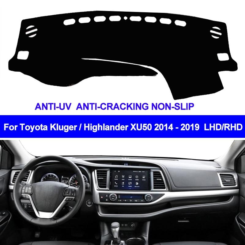 2 Layers Car Inner Dashboard Cover Pad Carpet Dash Mat Sun Shade For Toyota Kluger Highlander XU50 2014   2017 2018 2019 LHD RHD|Car Anti-dirty Pad| |  - title=
