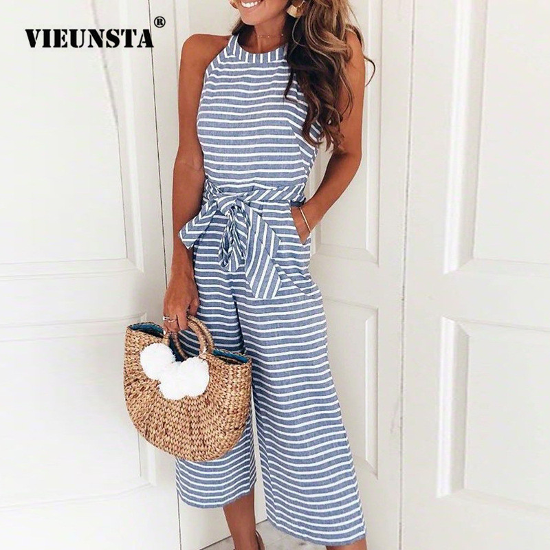 Vieunsta Striped Print Women Jumpsuits Elegant Rompers Sleeveless Summer Playsuits Casual Wide Leg Pants Jumpsuit Beach Overalls