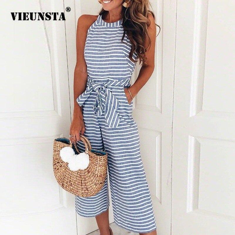 VIEUNSTA Striped Print Women   Jumpsuits   Elegant Rompers Sleeveless Summer Playsuits Casual Wide Leg Pants   Jumpsuit   Beach Overalls