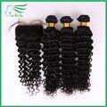 7A бразильский глубокая волна с закрытием отбеленными узлами необработанные человеческие бразильские волосы ткать пучки с закрытием не клубок не сарай
