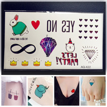 1PC Fashion Temporary Tattoos Transferable Kids Paste PAQ-X22 Queen Crown Diamonds Heart Jewerly Rabbit MELODY Tattoo Stickers