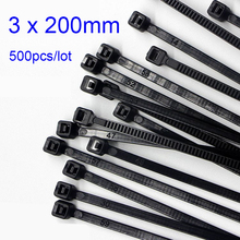 500pcs/lot 3*200mm high quality width 2.5mm Black/White Self-locking Plastic Nylon Cable Ties,Wire Zip Tie стоимость