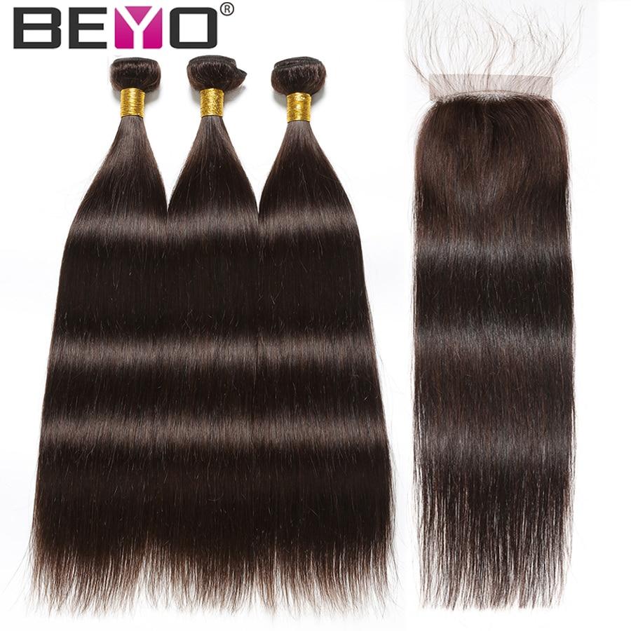 Pasma prostych włosów z zamknięcia brazylijski włosy wyplata wiązki #2 człowieka wiązki włosów z zamknięciem Beyo włosy inne niż remy rozszerzenia w 3/4 pasma z siateczką od Przedłużanie włosów i peruki na AliExpress - 11.11_Double 11Singles' Day 1