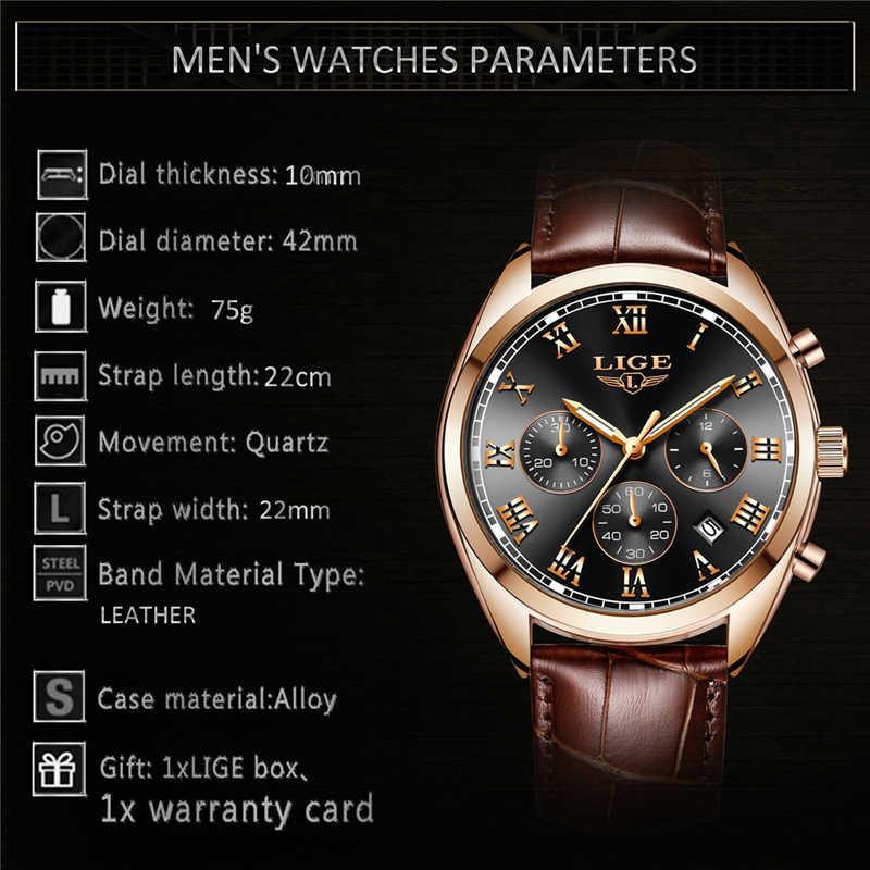 Relojes de lujo de marca LIGE multifunción para hombre, reloj deportivo de cuarzo, reloj de negocios de cuero impermeable para hombre, reloj de pulsera para hombre + caja
