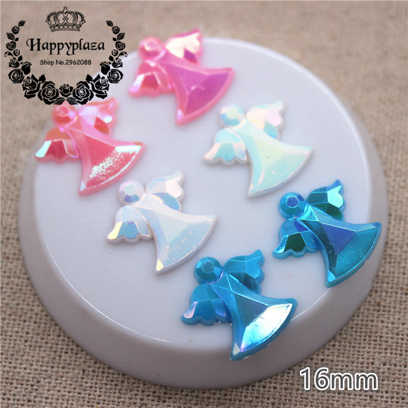 100pcs 16mm Shiny AB  Ivory/Pink/Blue Acrylic Angel Fit For Baby Shower Decoration First Birthday Party Souvenirs DIY