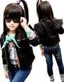 Envío gratis niños y niñas de la chaqueta de cuero párrafo corto de cuero de la motocicleta de cuello alas niños bebé prendas de vestir exteriores