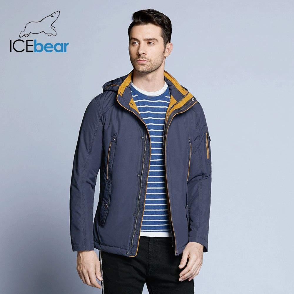ICEbear 2018 3 Цвет Большой размер полиэстер Тонкий куртки новых людей вскользь Весна Открытый теплое пальто с капюшоном карман на молнии 17MC853D