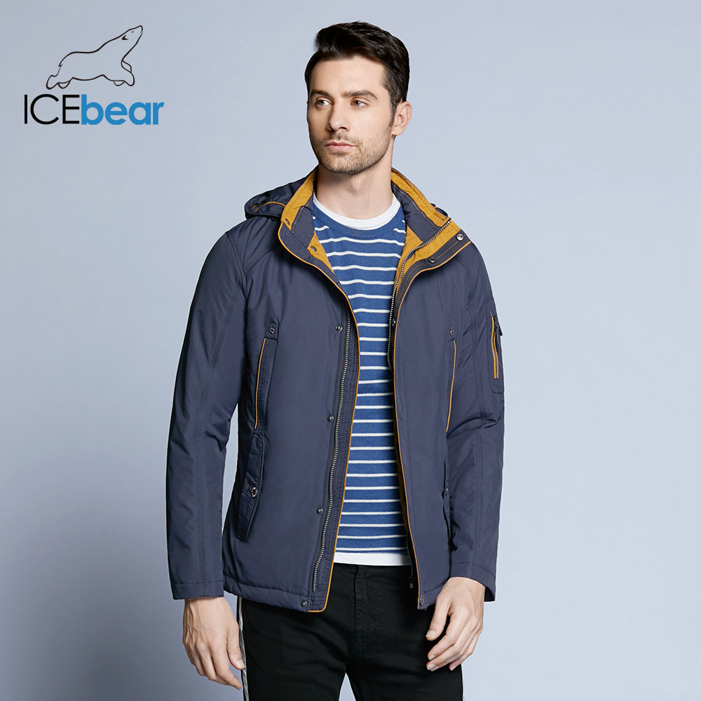 ICEbear 2019 Trois Couleurs Grande Taille Polyester Mince hiver veste Hommes parka Printemps Casual Chaud Manteau 17MC853D