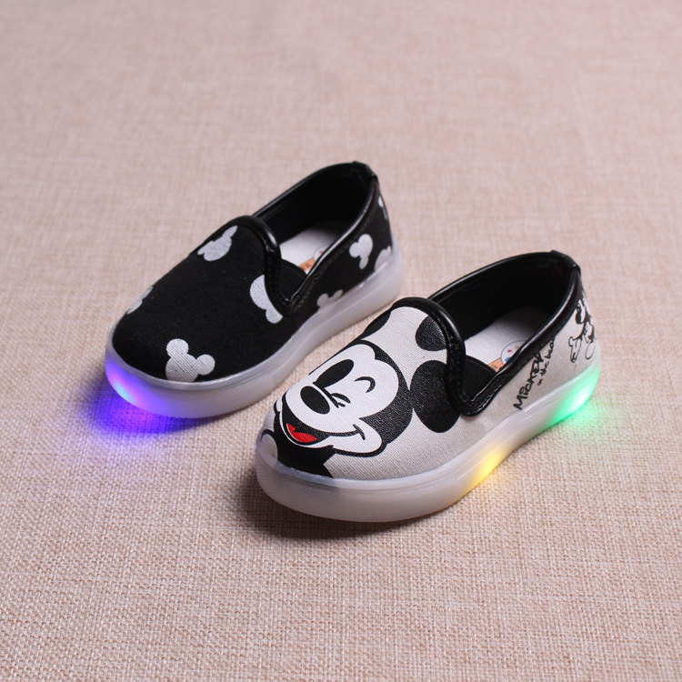 Hello Kitty Children Light Shoes For Girls Baby Canvas Sneakers Mickey <font><b>LED</b></font> Sneakers Kids Shoes For Boys Girls <font><b>Chaussure</b></font> <font><b>Enfant</b></font>