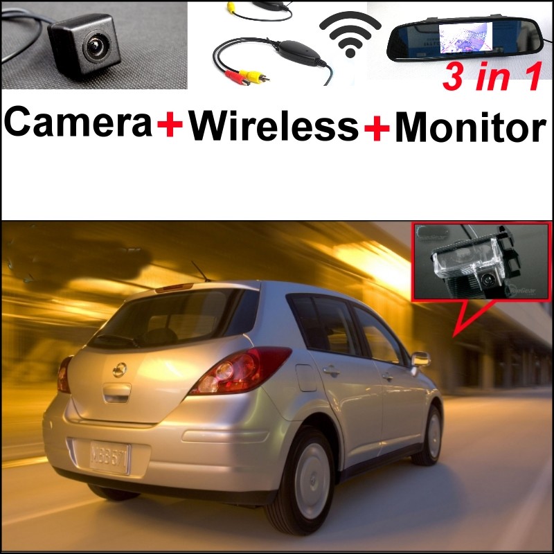 3 in1 Special Camera + Wireless Receiver + Mirror Monitor Back Up Parking System For NISSAN Versa 5D Hatchback C11X 2006~2013 wireless pager system 433 92mhz wireless restaurant table buzzer with monitor and watch receiver 3 display 42 call button