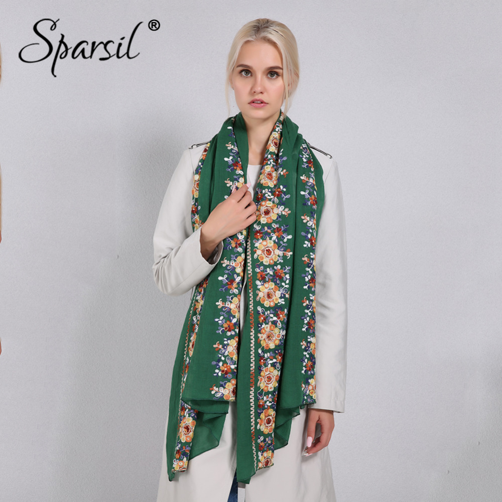 Sparsil Women Cotton Linen Blend   Scarves   Flowers Embroidery Shawls Basic Floral Print Pashmina   Scarf   Ladies   Wraps   Size 180*90cm