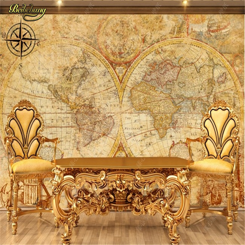 Beibehang large wallpaper western palace ancient map for Classic mural wallpaper