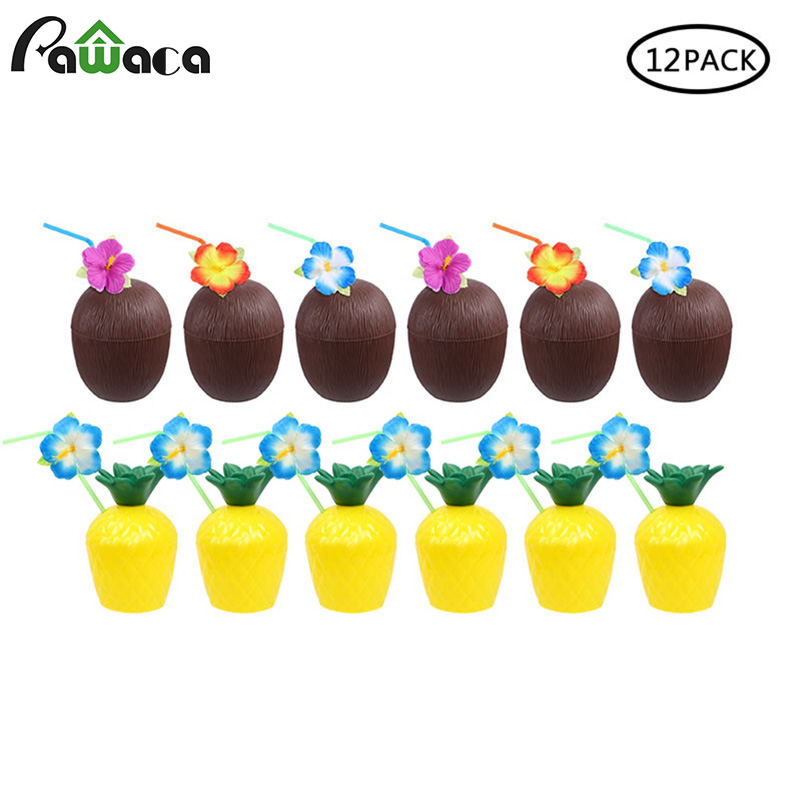 12Pcs/Lot Pineapple Coconut Cups Fruit Shape Juice Party Drinking Cups with Flower Straws for Hawaiian Luau Summer Beach Party12Pcs/Lot Pineapple Coconut Cups Fruit Shape Juice Party Drinking Cups with Flower Straws for Hawaiian Luau Summer Beach Party
