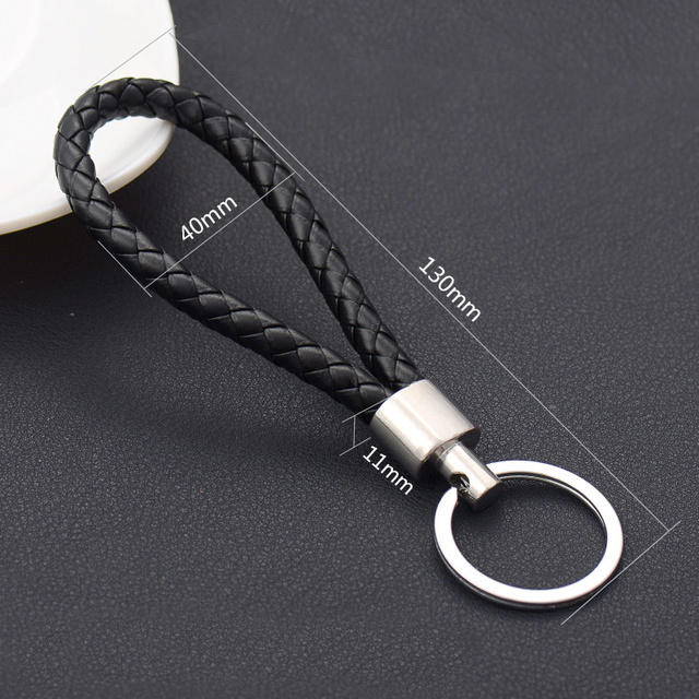 Handmade Knitted Rope Making Leather Rope Keychain for Women Men Rope for hanging bags Key Chain Porte Clef Chaveiro Keychains 4