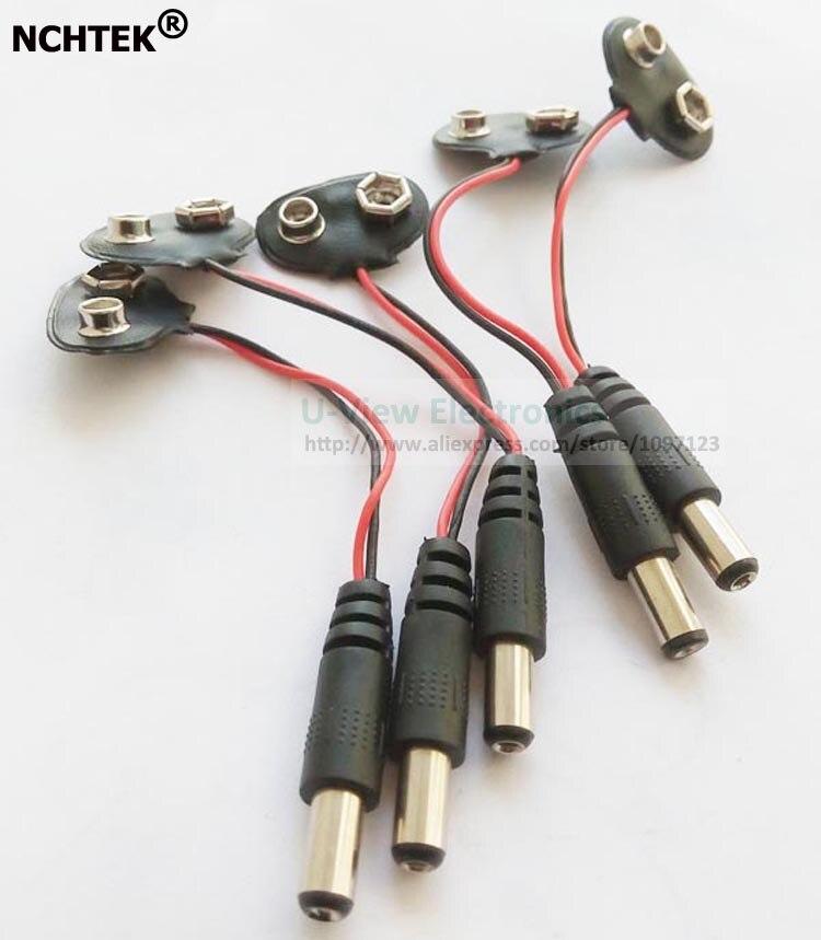 NCHTEK – batterie 9V avec borne à pression, 5.5x2.1MM cc, prise mâle, livraison DHL gratuite, 1000 pièces