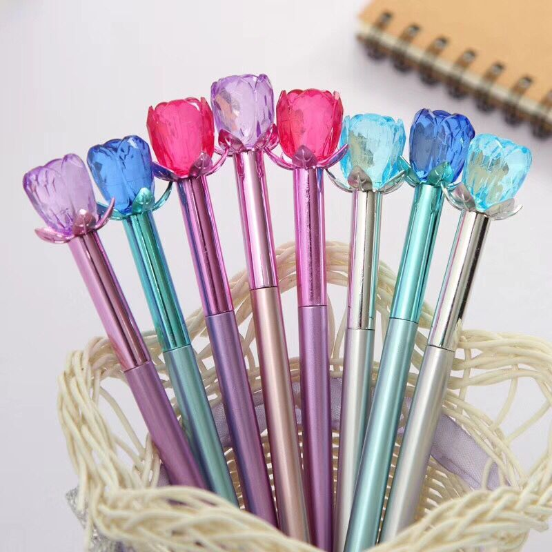 40pcs/lot Korea Rose bloom Cystal Metallic Writing Gel Ink Pens Study Office Birthday Festival Party Favor Goodie Material-in Party Favors from Home & Garden    1