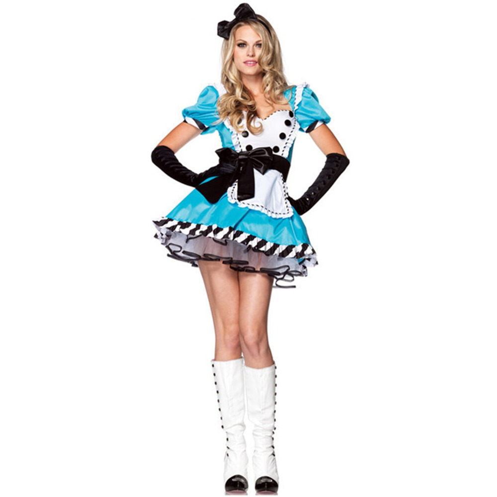 <font><b>Alice</b></font> <font><b>In</b></font> the <font><b>Wonderland</b></font> <font><b>Costume</b></font> <font><b>Alice</b></font> <font><b>Sexy</b></font> Cosplay Women Halloween Carnival Party <font><b>Costumes</b></font> girls Fancy Dress image